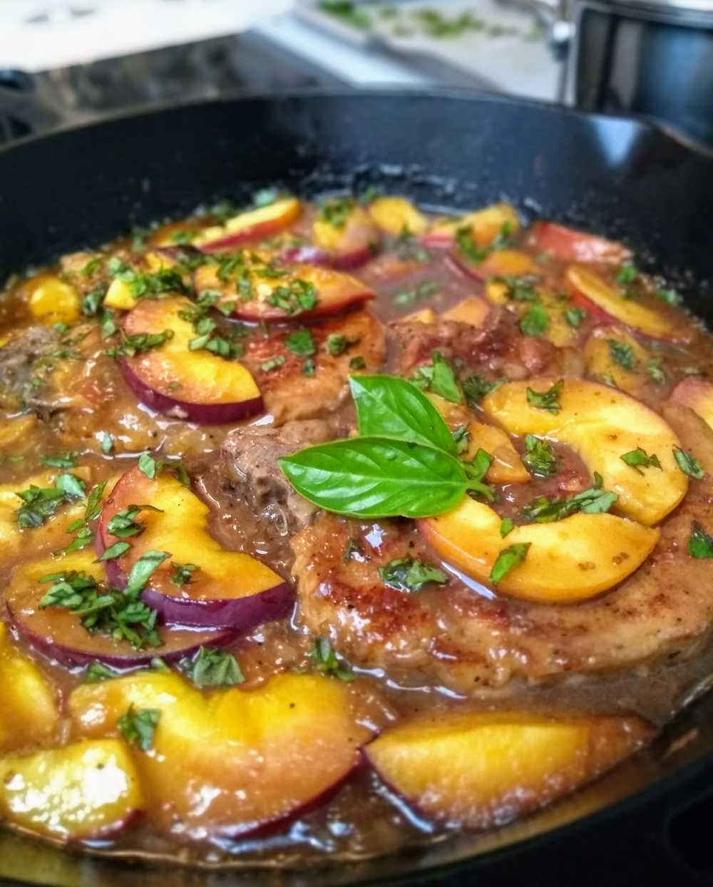 Braised Pork Chops with Peach and Basil